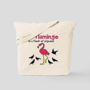 Flamingo Flock of Pigeons Tote Bag
