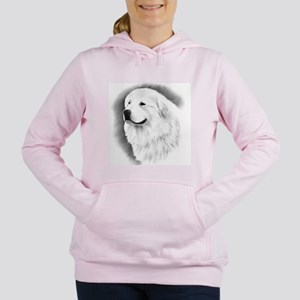 Great Pyrenees Charcoal Portrait Women's Hooded Sw