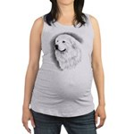Great Pyrenees Charcoal Portrait Maternity Tank To