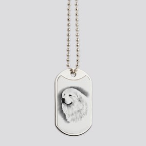 Great Pyrenees Charcoal Portrait Dog Tags