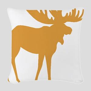 Brown Moose Woven Throw Pillow