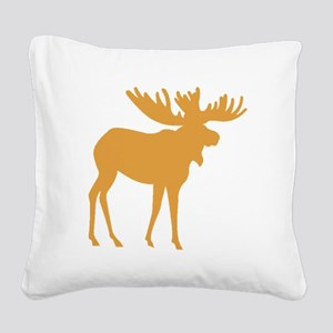 Brown Moose Square Canvas Pillow