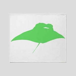Green Manta Ray Throw Blanket