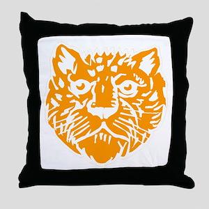 Orange Leopard Face Throw Pillow