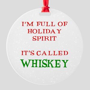 Holiday Spirit Whiskey Round Ornament
