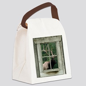 Old wood cabin window with bull e Canvas Lunch Bag