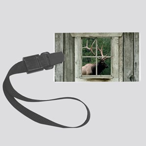 Old wood cabin window with bull Large Luggage Tag
