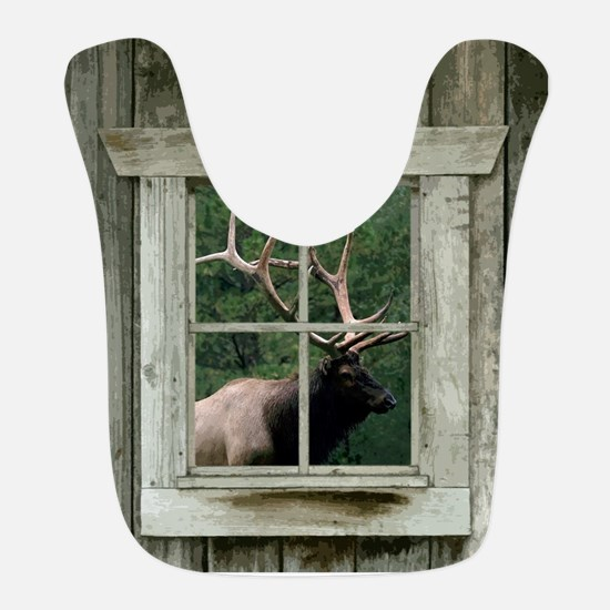 Old wood cabin window with bull elk Bib