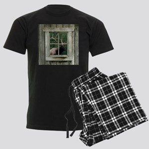 Old wood cabin window with bul Men's Dark Pajamas
