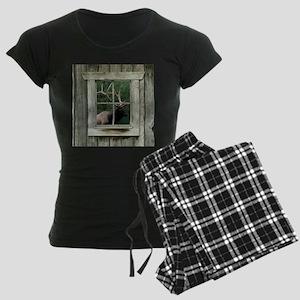 Old wood cabin window with b Women's Dark Pajamas