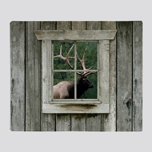 Old wood cabin window with bull elk Throw Blanket