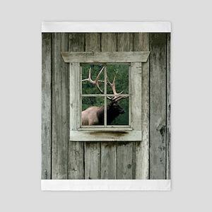 Old wood cabin window with bull elk Twin Duvet