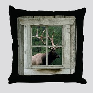 Old wood cabin window with bull elk Throw Pillow