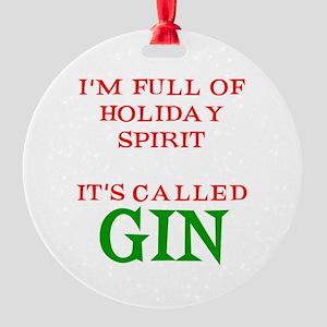 Holiday Spirit Gin Round Ornament
