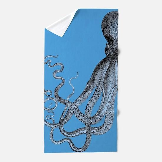 Vintage Octopus in Duo blue tones Beach Towel