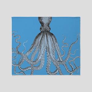 Vintage Octopus in Duo blue tones Throw Blanket