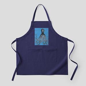 Vintage Octopus in Duo blue tones Apron (dark)