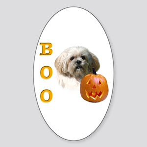 Lhasa Apso Boo Oval Sticker