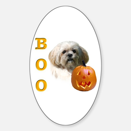 Lhasa Apso Boo Oval Decal