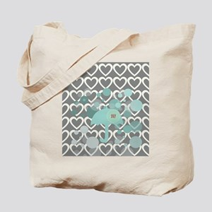 Cute Hearts Monogram Tote Bag