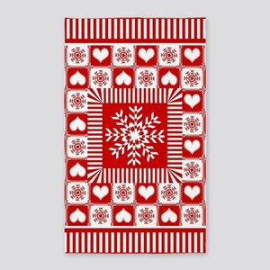 Snowflakes and Hearts Christmas 3'x5' Area Rug
