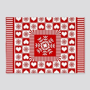 Snowflakes and Hearts Christmas 5'x7'Area Rug