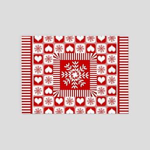 Snowflakes and Hearts Christmas 5'x7'Area Rug