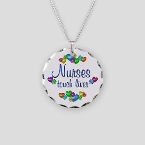 Nurses Touch Lives Necklace Circle Charm