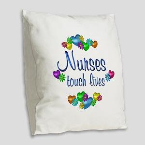 Nurses Touch Lives Burlap Throw Pillow