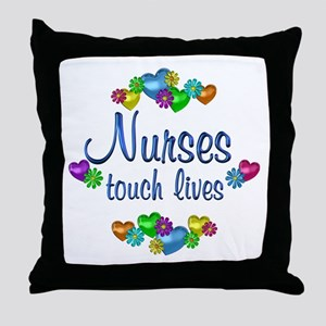 Nurses Touch Lives Throw Pillow