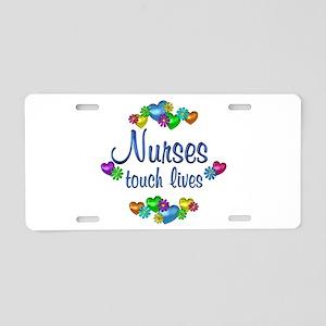 Nurses Touch Lives Aluminum License Plate
