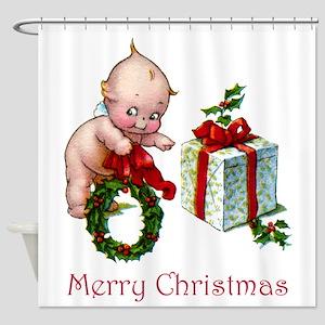 Merry Christmas Cupie Shower Curtain
