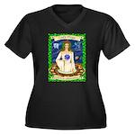 Lady Virgo Women's Plus Size V-Neck Dark T-Shirt
