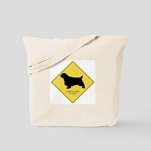 Clumber Spaniel crossing Tote Bag