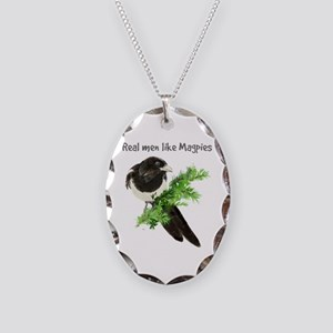 Real Men Like Magpies Humor Necklace Oval Charm