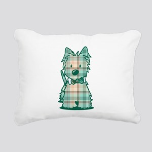 Plaid KiniArt Westie Bo Rectangular Canvas Pillow
