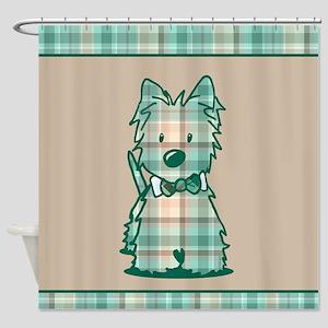 Plaid KiniArt Westie Bo Shower Curtain
