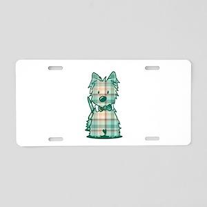 Plaid KiniArt Westie Bo Aluminum License Plate