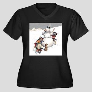 Kittens Play Women's Plus Size V-Neck Dark T-Shirt
