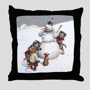 Kittens Play in The Snow Throw Pillow