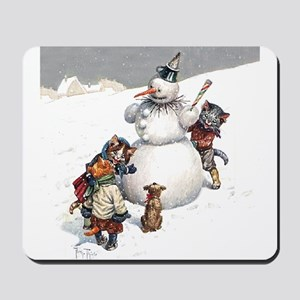 Kittens Play in The Snow Mousepad