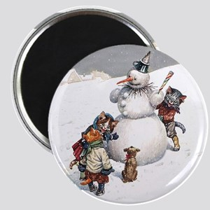 Kittens Play in The Snow Magnet