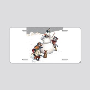 Kittens Play in The Snow Aluminum License Plate