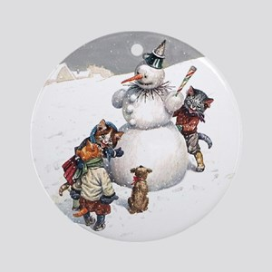 Kittens Play in The Snow Ornament (Round)