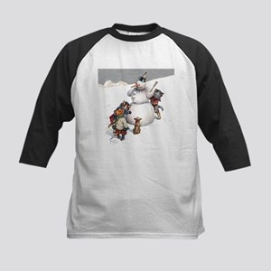 Kittens Play in The Snow Kids Baseball Jersey
