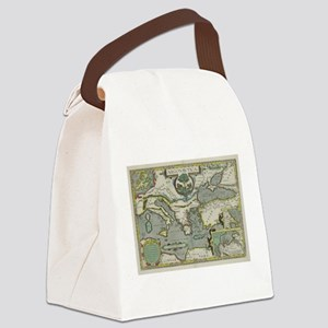 Vintage Map of The Mediterranean Canvas Lunch Bag