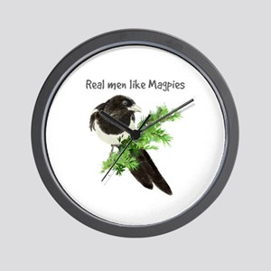 Real Men Like Magpies Humor Bird Quote Wall Clock