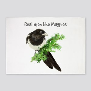 Real men like Magpies Humor Bird Quote 5'x7'Area R