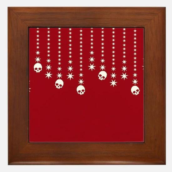 Skull Dangles Christmas Red Framed Tile
