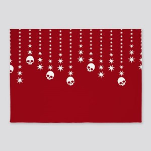Skull Dangles Christmas Red 5'x7'Area Rug